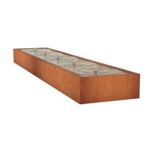 Watertafel cortenstaal 500 x 100 x 40 cm
