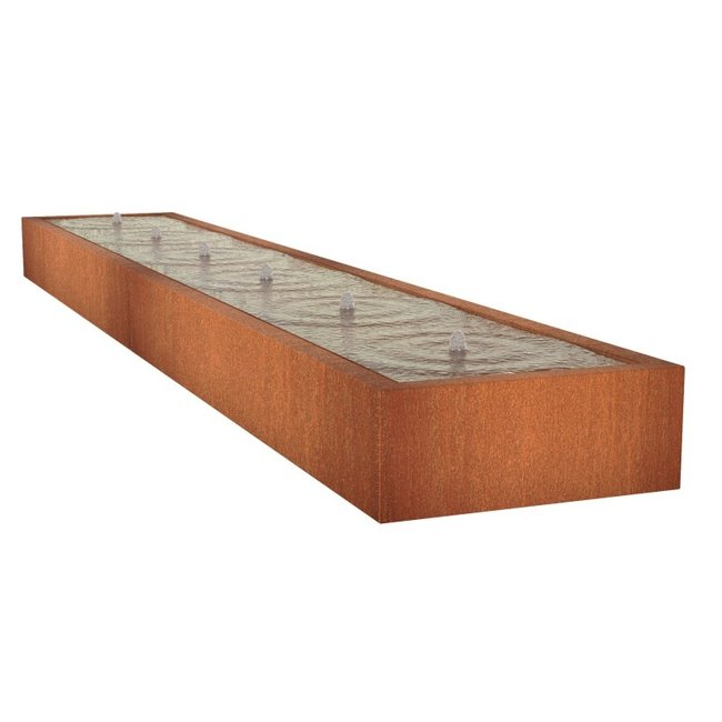 Watertafel cortenstaal 600 x 100 x 40 cm
