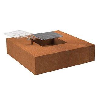 Burni vuurtafel met grill Cortenstaal 120 x 120 x 28 cm