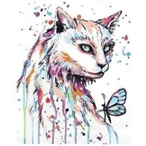 Artventura  Katze mit Schmetterling