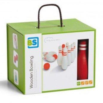 Buitenspeel Houten bowlingset - rood wit