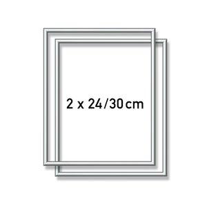 Aluminium lijst - 2X  24x30 cm Zilver