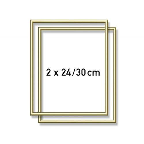 Aluminium lijst - 2X  24x30 cm Goud