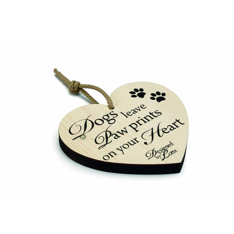 "Houten decoratiehart ""hond"""