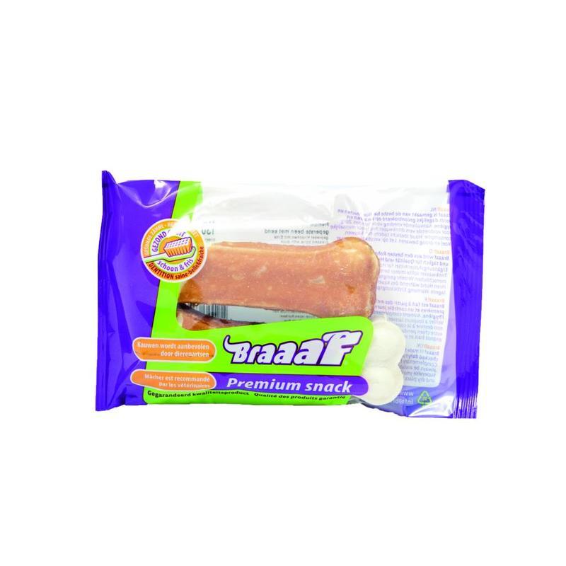 Lekker hard bot van geperst runderhuid met een lapje eendenvlees