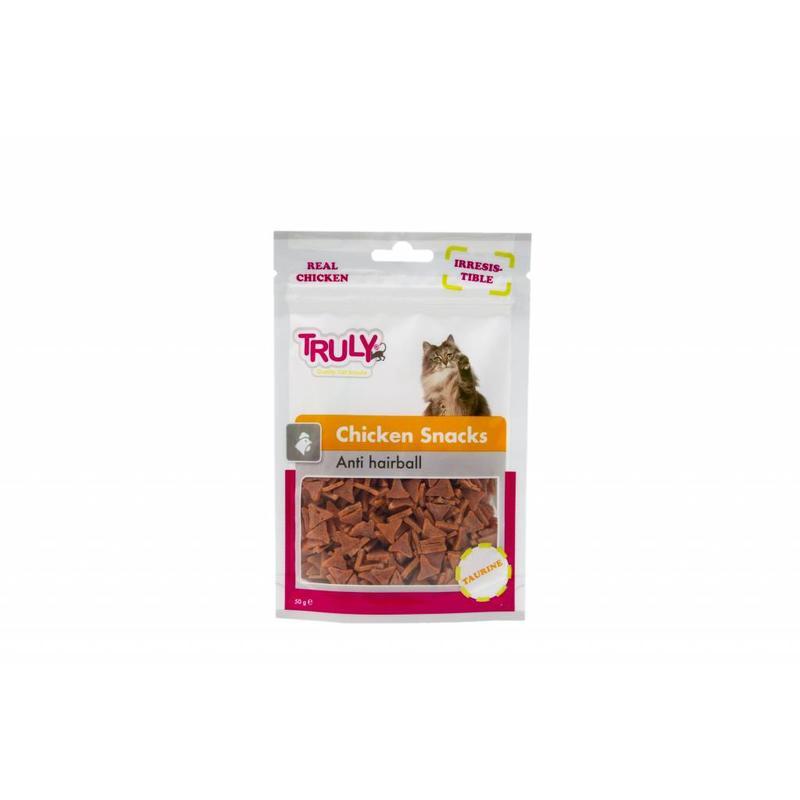 Zachte kleine snack met kippenvlees voor katten.