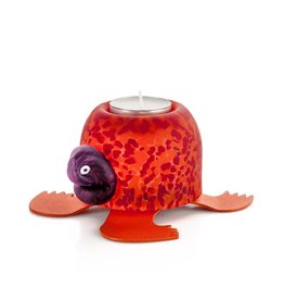 Borowski Glasstudio Turtle Teelicht, rot-orange