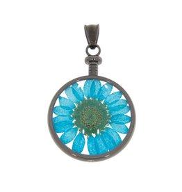 blumenkind® Anhänger grau, Blume blau