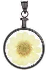 blumenkind® Anhänger grau, Blume gelb I blumenkind® I echte Blüte