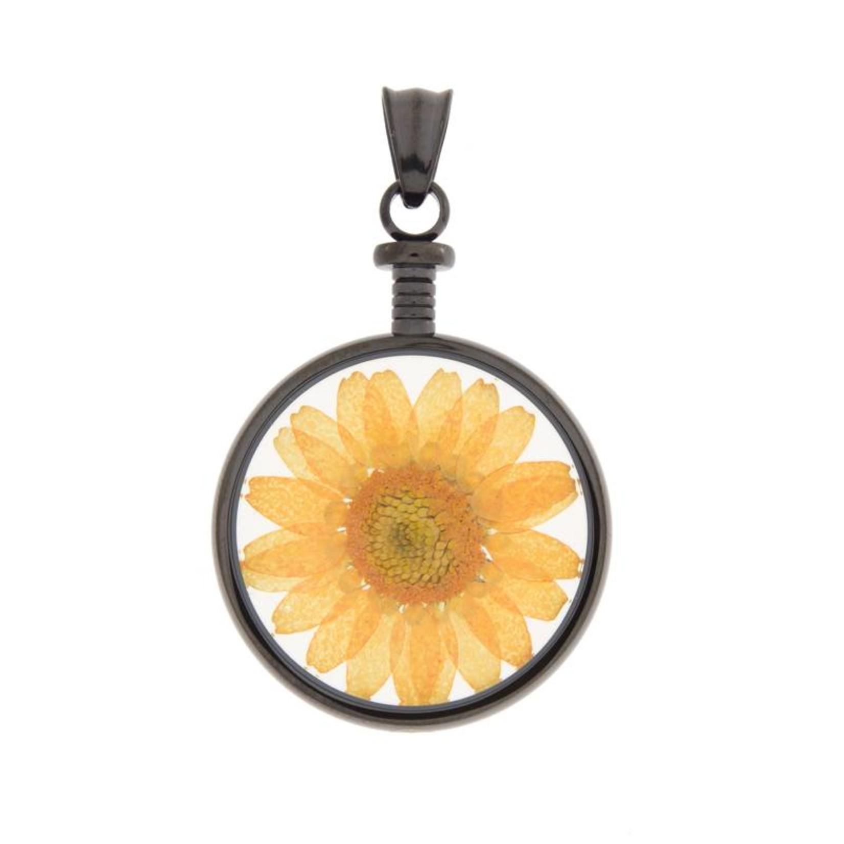 blumenkind® Kettenanhänger grau, Blume orange   blumenkind® Schmuck   echte Blüte