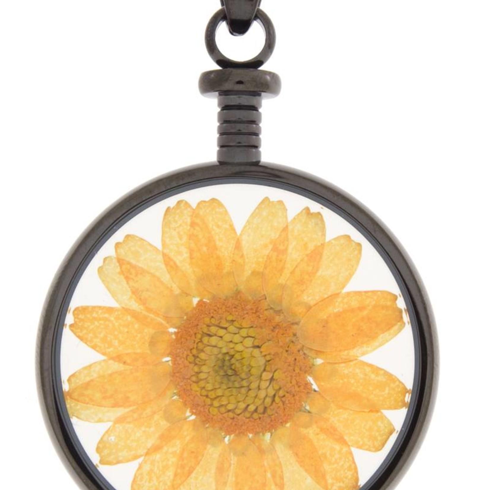 blumenkind® Anhänger grau, Blume orange I blumenkind® I echte Blüte