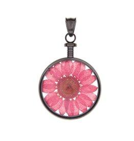 blumenkind® Anhänger grau, Blume rot