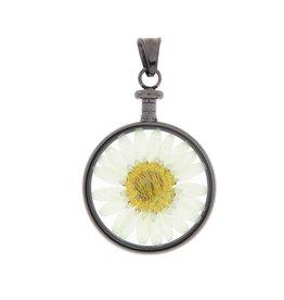 blumenkind® Anhänger grau, Blume weiß