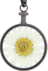 blumenkind® Anhänger grau, Blume weiß I blumenkind® I echte Blüte