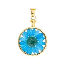 blumenkind® Anhänger gold, Blume blau