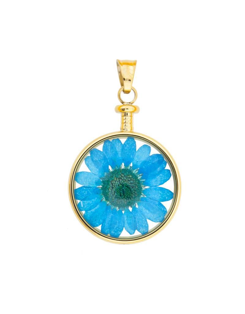 blumenkind® Anhänger gold, Blume blau I blumenkind® I echte Blüte