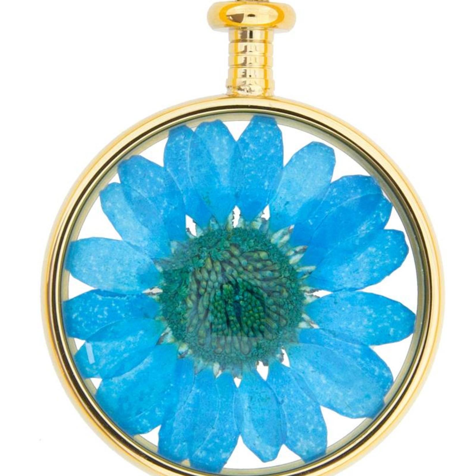 blumenkind® Kettenanhänger gold, Blume blau | blumenkind® Schmuck | echte Blüte