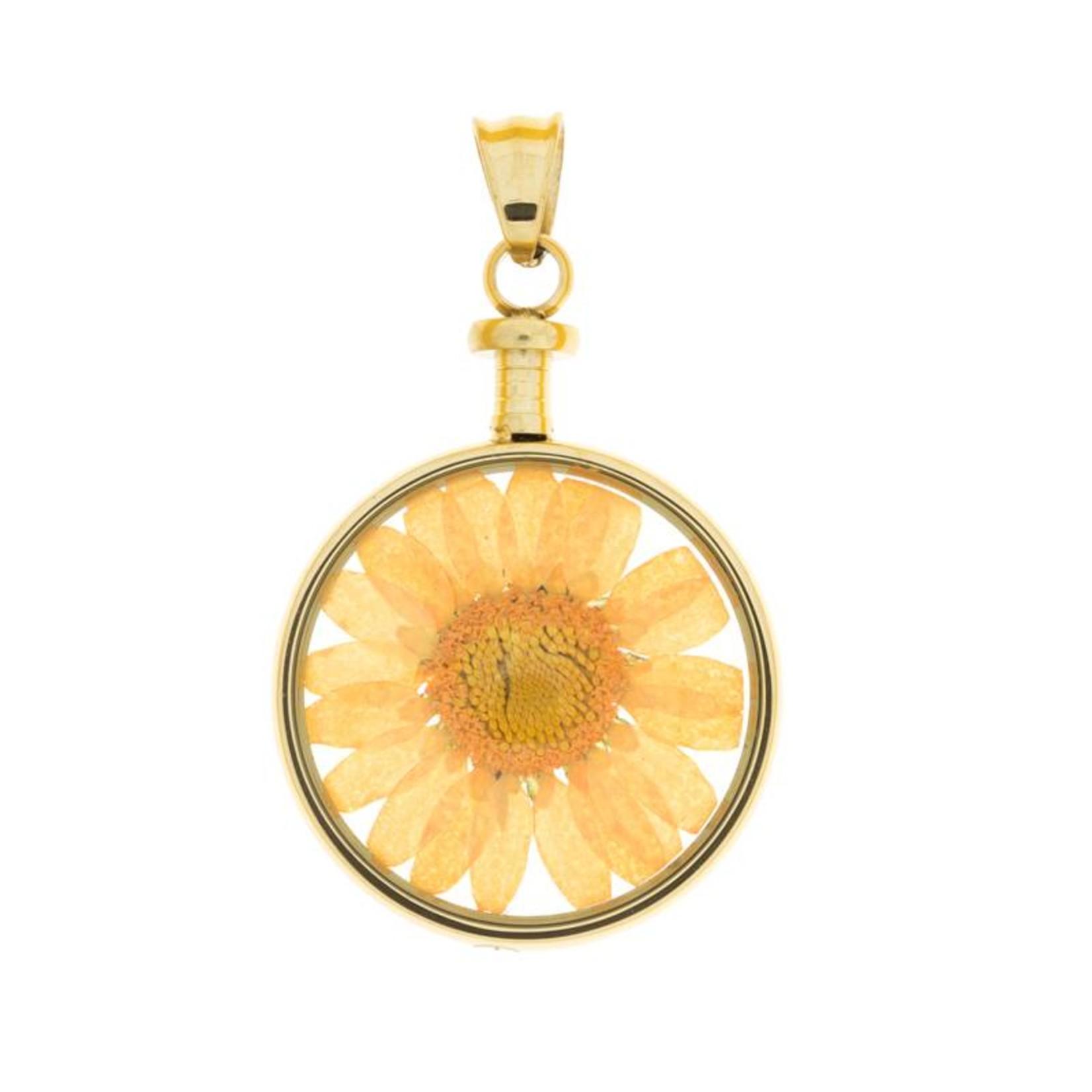 blumenkind® Kettenanhänger gold, Blume orange   blumenkind® Schmuck   echte Blüte