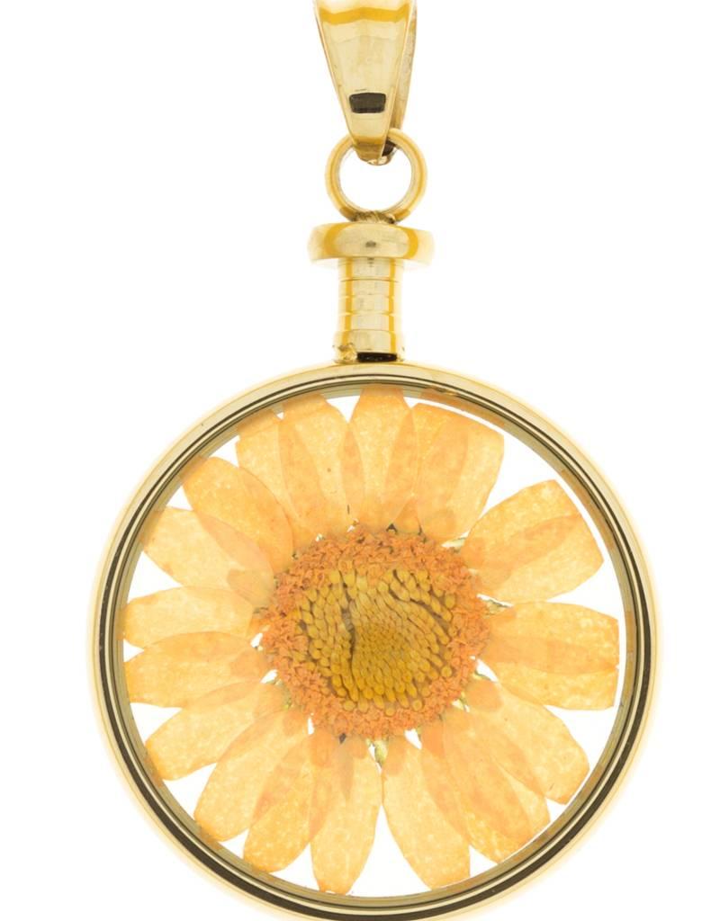 blumenkind® Anhänger gold, Blume orange I blumenkind® I echte Blüte