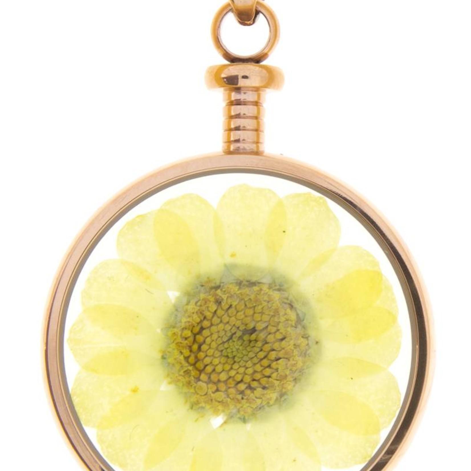 blumenkind® Kettenanhänger roségold, Blume gelb   blumenkind® Schmuck   echte Blüte