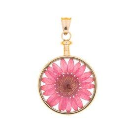 blumenkind® Anhänger roségold, Blume rot