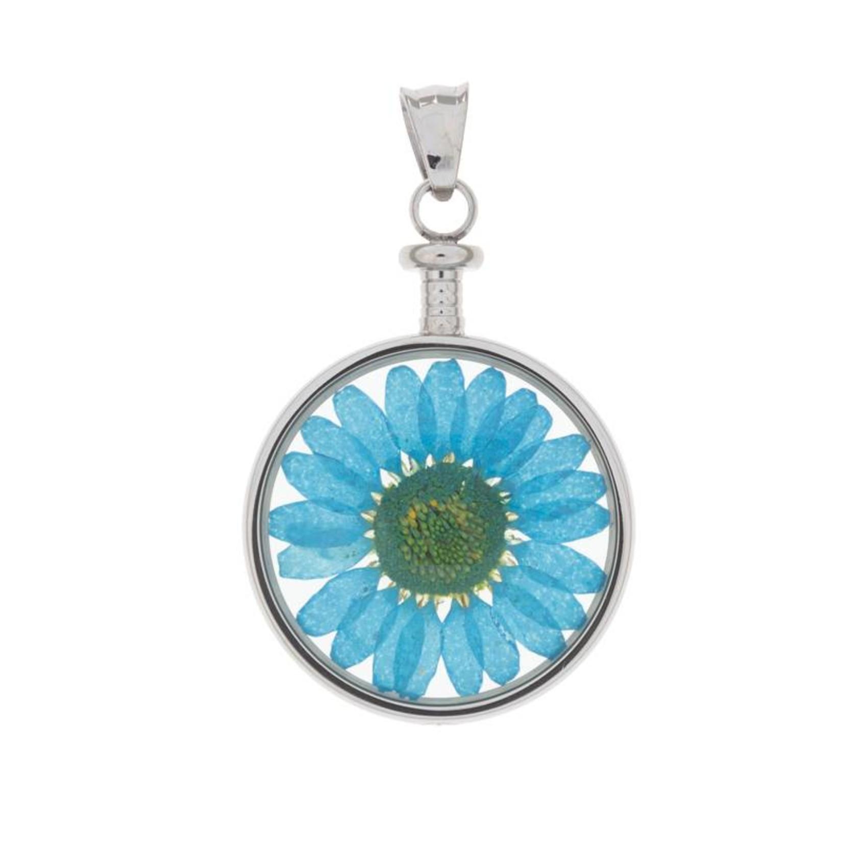 blumenkind® Kettenanhänger stahl, Blume blau   blumenkind® Schmuck   echte Blüte