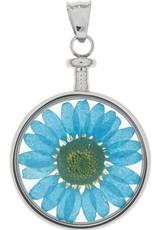 blumenkind® Anhänger stahl, Blume blau I blumenkind® I echte Blüte