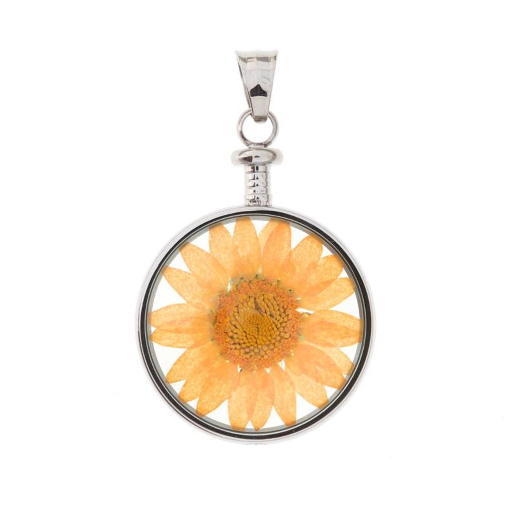 blumenkind® Kettenanhänger stahl, Blume orange | blumenkind® Schmuck | echte Blüte