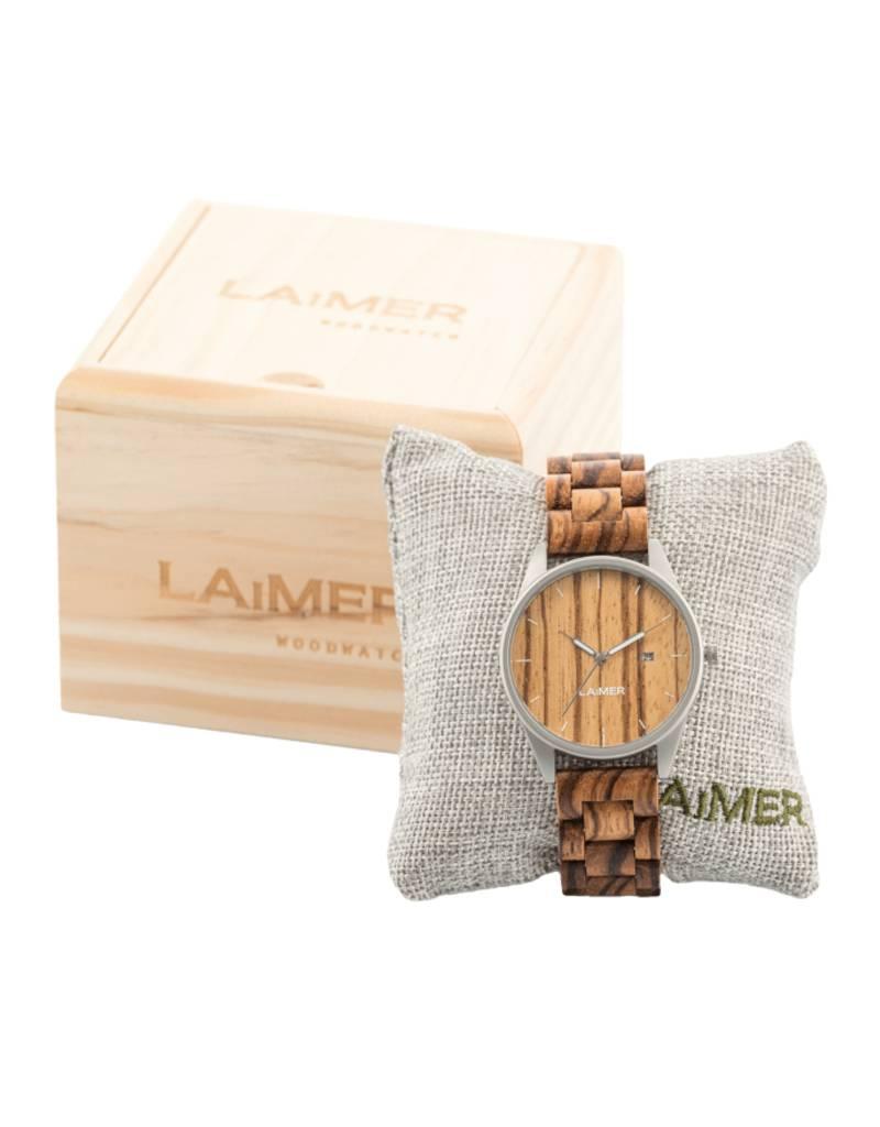 Laimer Holzuhren Laimer Holzuhr Ulli 40 mm I Laimer Uhr aus Zebranoholz