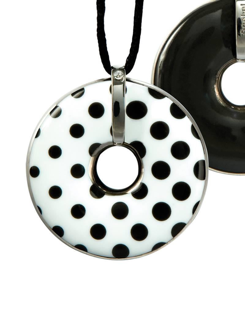 Goebel Porzellanmanufaktur Kette Porzellan Punkte/ Schwarz I Anhänger schwarz-weiß