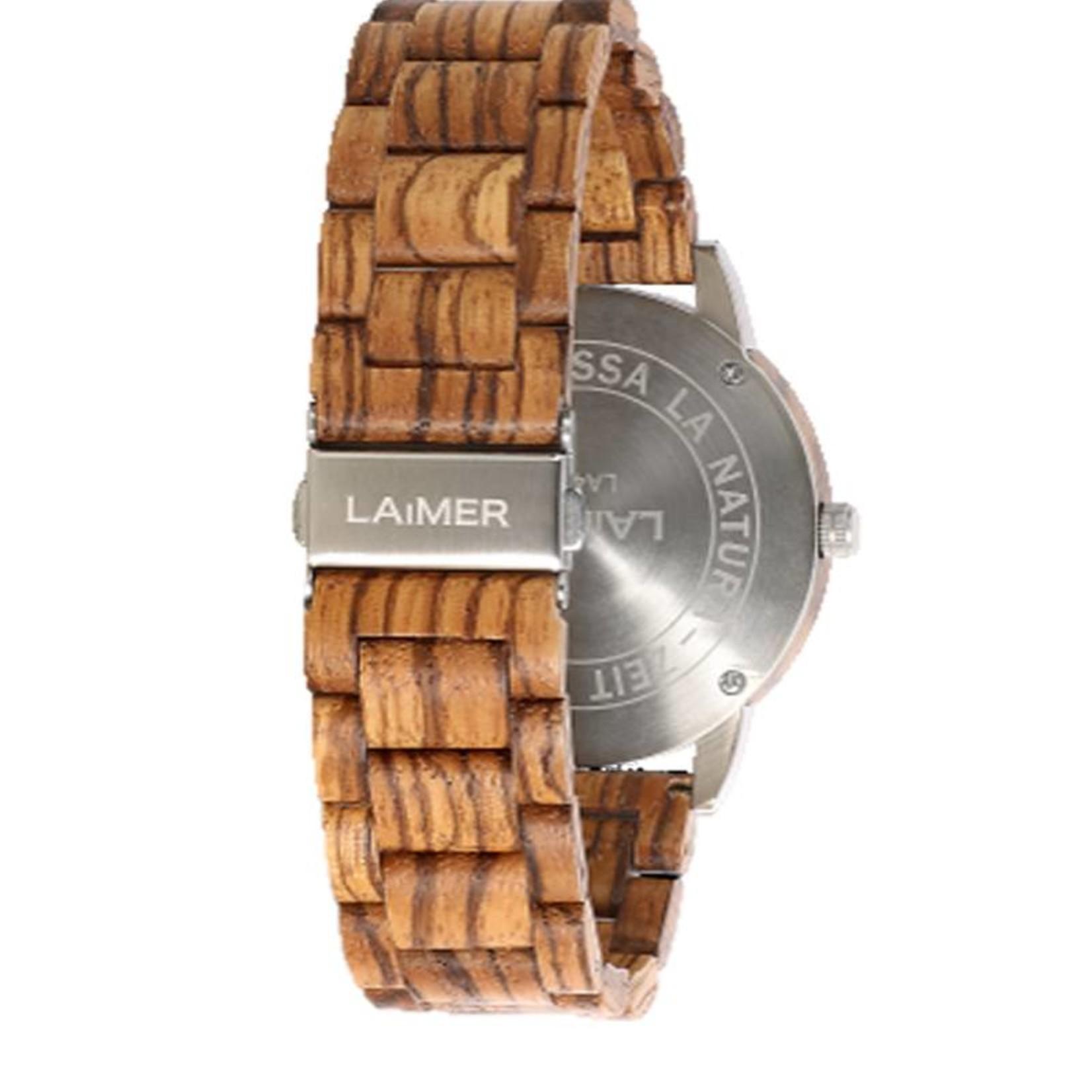 Laimer Holzuhren Laimer Holzuhr Elia 45 mm I Laimer Uhr aus Zebranoholz