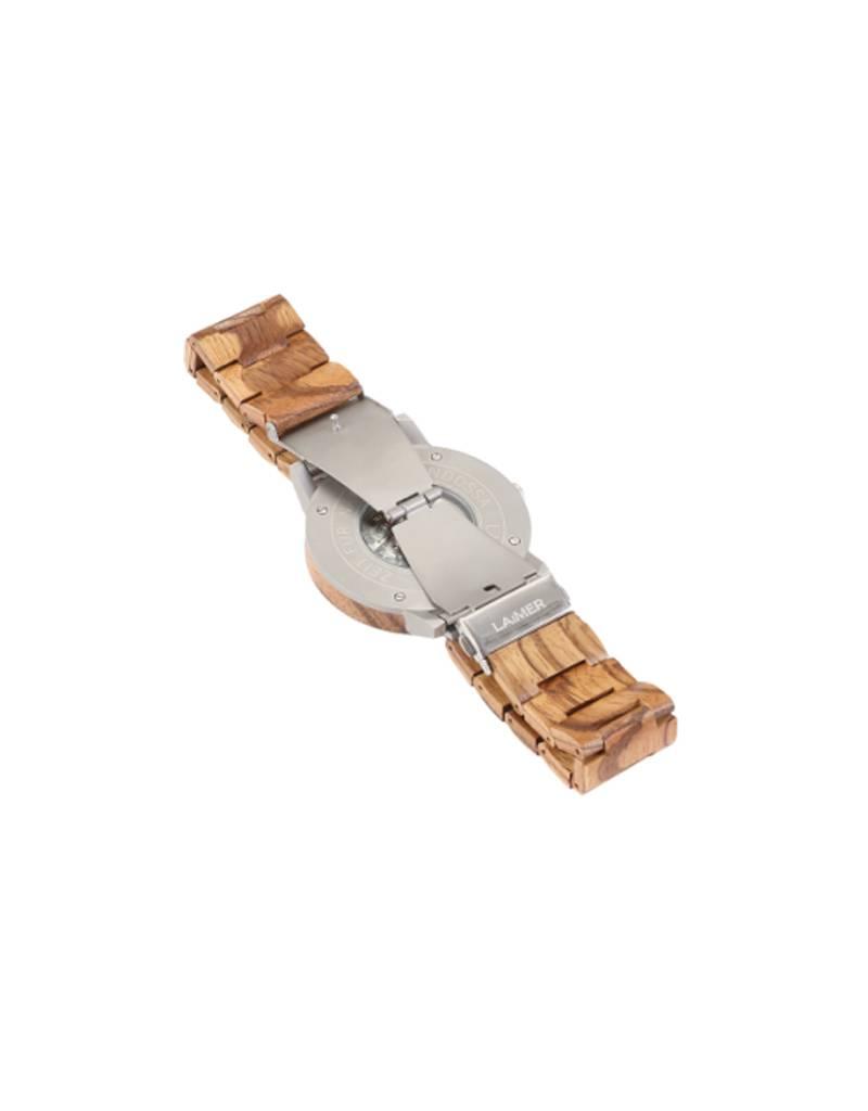Laimer Holzuhren Laimer Holzuhr Rafael 49 mm I Automatik Uhr Zebrano