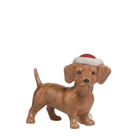 Goebel Porzellanmanufaktur Dackel mit Weihnachtsmütze