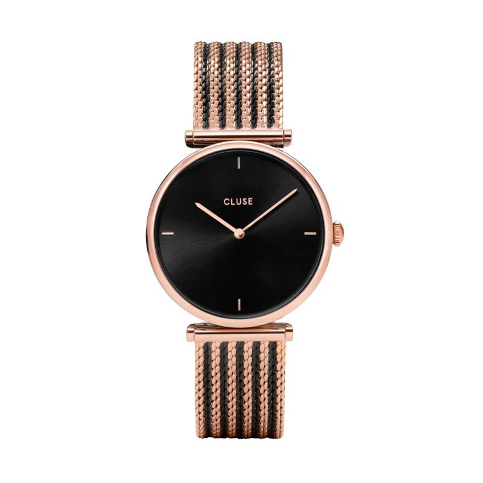 Cluse Cluse Uhr Triomphe roségold-schwarz I Mesh zweifarbig