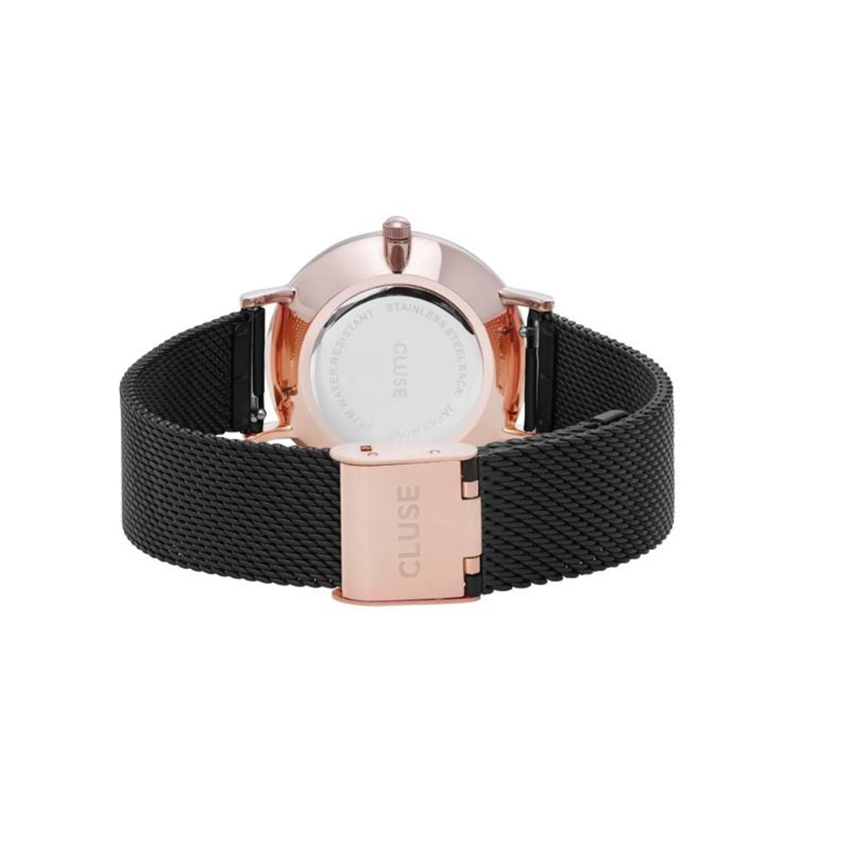 Cluse Cluse Uhr Miniuit roségold-schwarz I Mesh schwarz