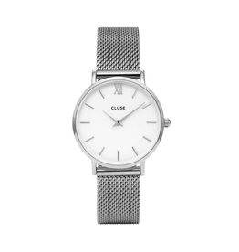 Cluse Cluse Uhr Minuit silber-weiß