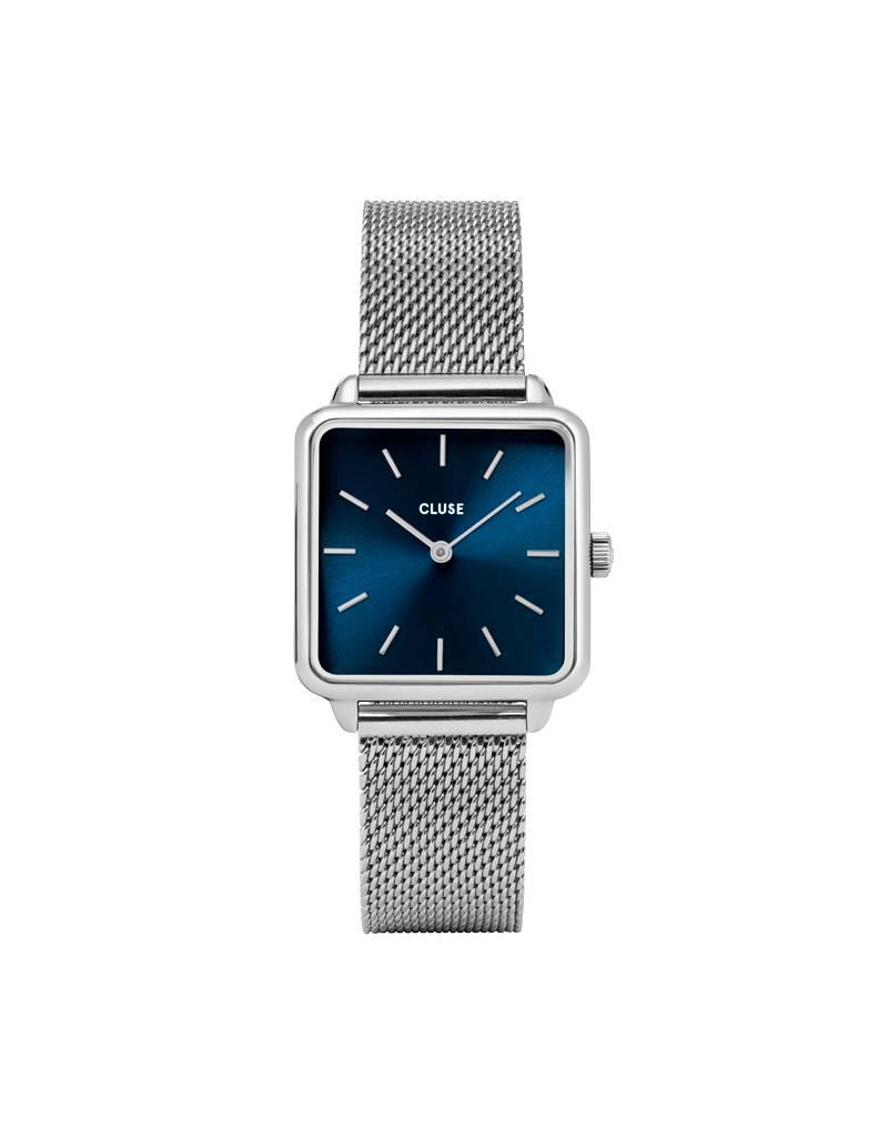 Cluse Cluse Uhr La Tétragone silber-blau I rechteckig