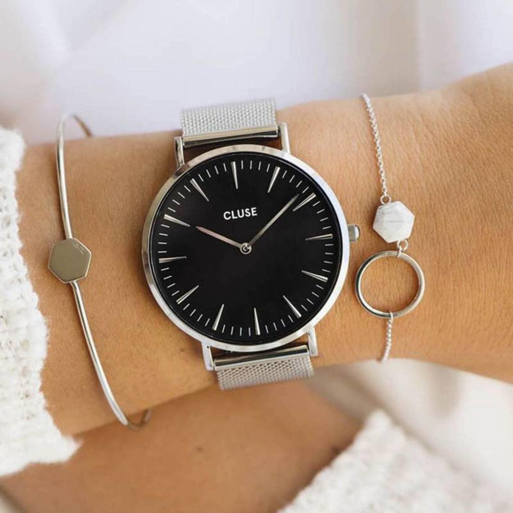 Cluse Cluse Uhr La Bohème silber-schwarz I Mesh silber