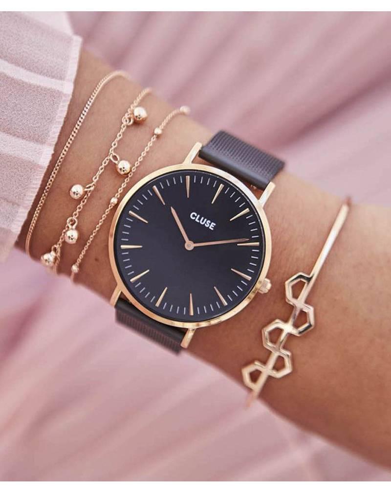 Cluse Cluse Uhr La Bohème schwarz-roségold I Mesh schwarz