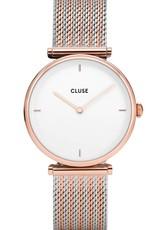 Cluse Cluse Uhr Triomphe roségold-weiß I Mesh zweifarbig