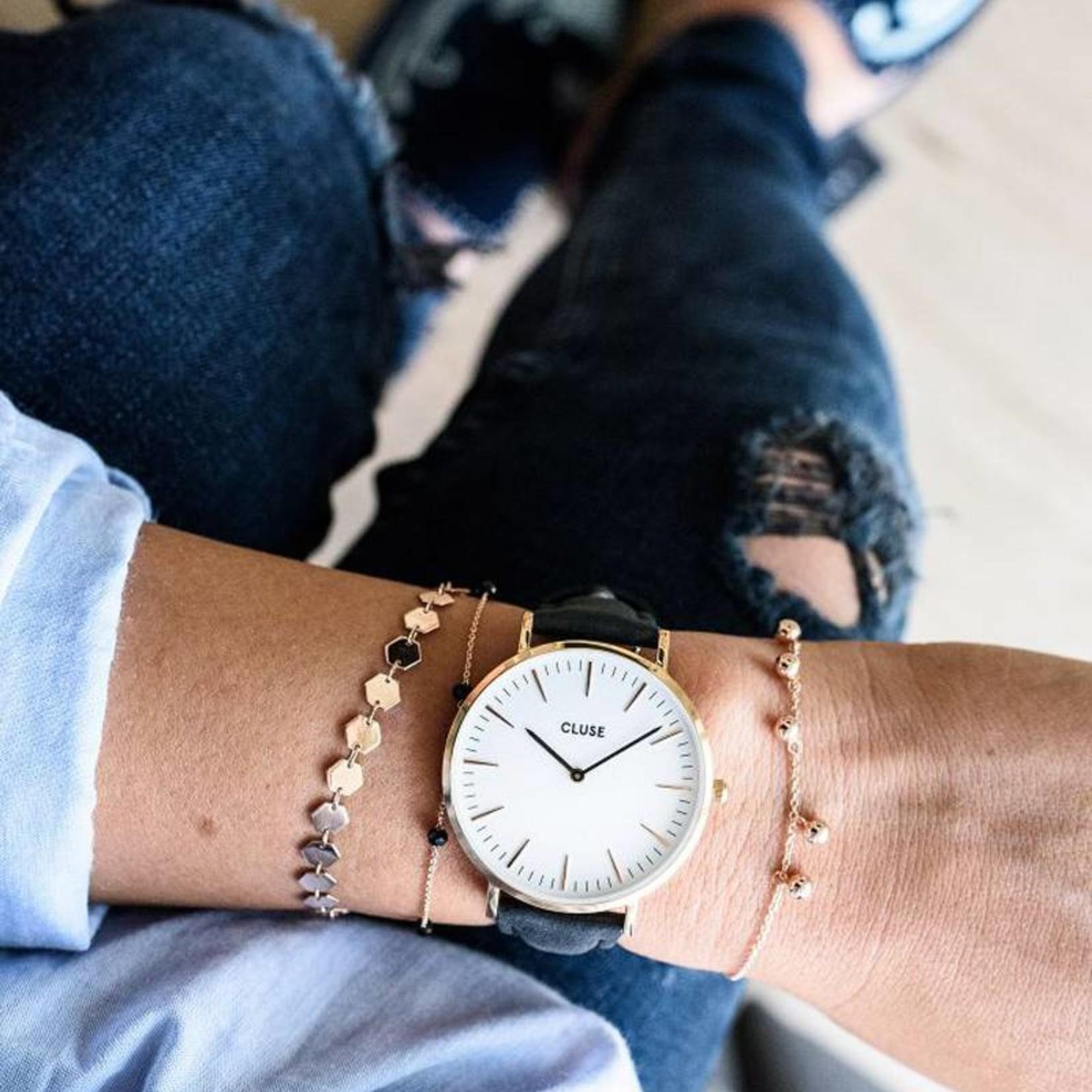 Cluse Cluse Uhrarmband schwarz-roségold I echtes Leder I 18 mm