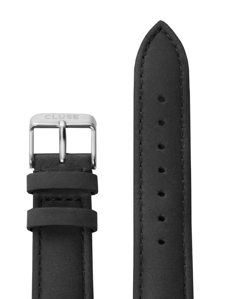 Cluse Cluse Uhrarmband schwarz-silber I echtes Leder I 18 mm