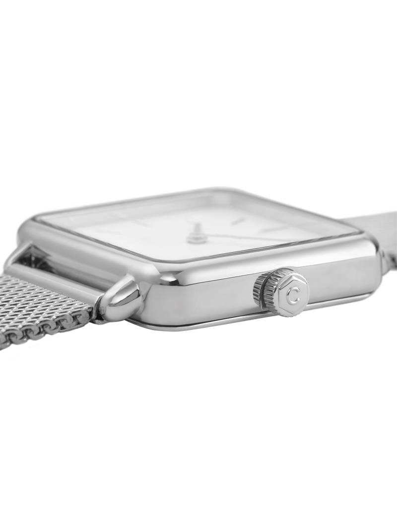 Cluse Cluse Uhr La Tétragone silber-weiß I rechteckig I Mesh