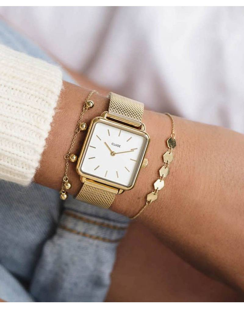 Cluse Cluse Uhr La Tétragone gold-weiß I rechteckig I Mesh