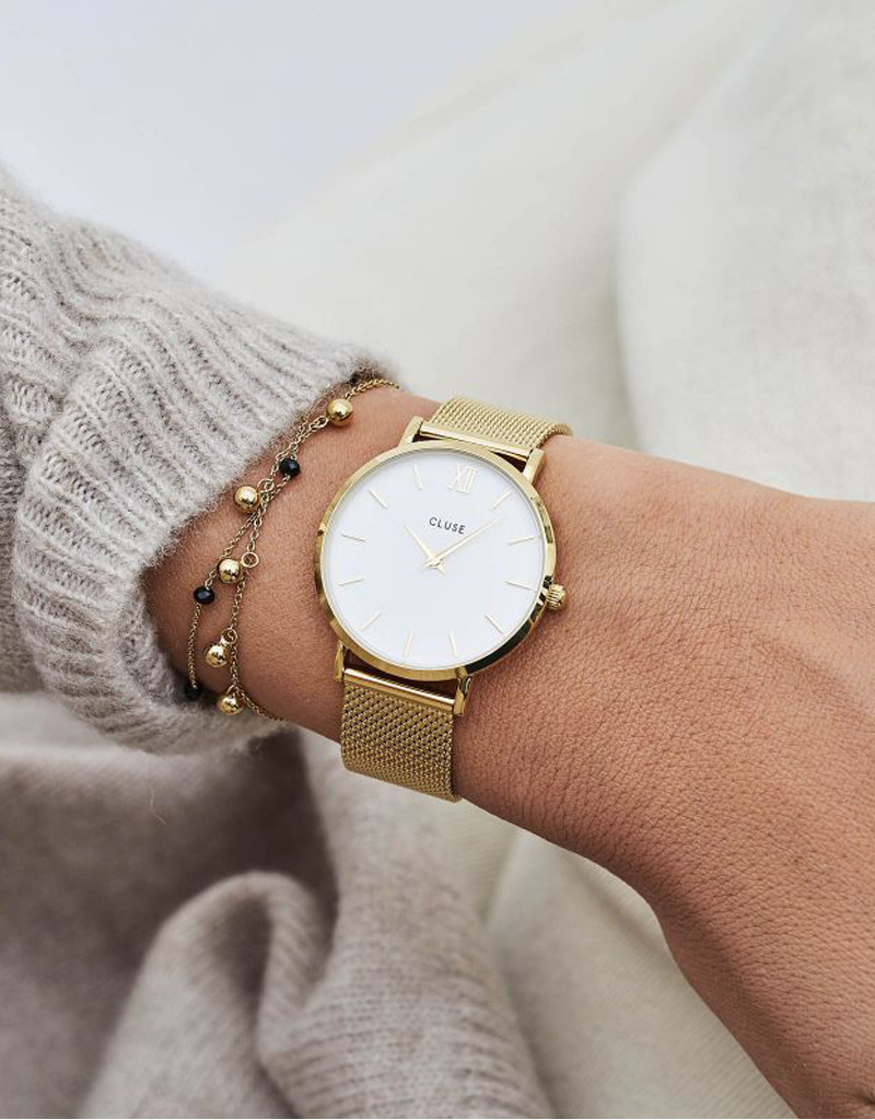 Cluse Cluse Uhr Miniuit gold-weiß I Edelstahl Mesh Gold