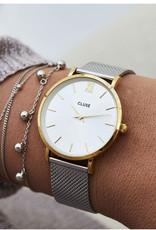 Cluse Cluse Uhr Miniuit silber-gold I Edelstahl Mesh silber