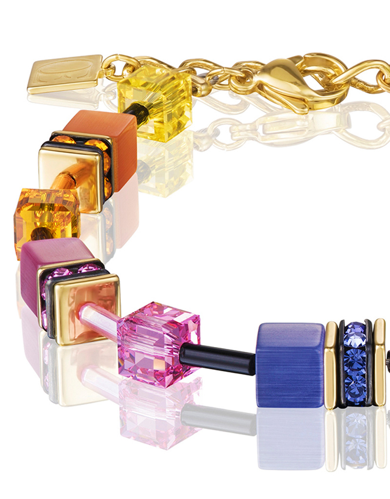 Coeur de Lion Armband 2838/30-1573 I multicolor rainbow gold I GeoCUBE®