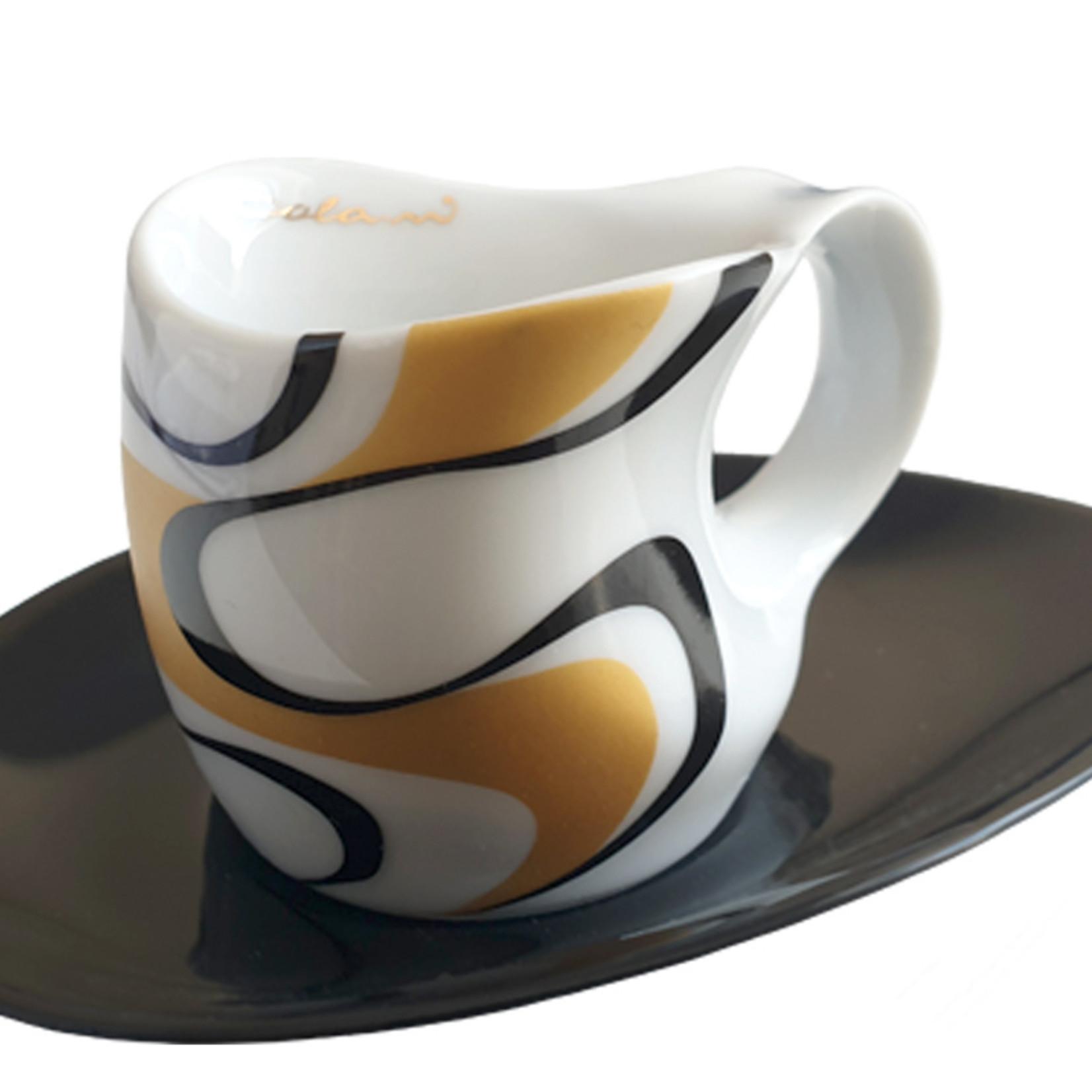 Colani Porzellanserie  Colani Espressotasse | Tasse inkl. Unterteller | gold-schwarz