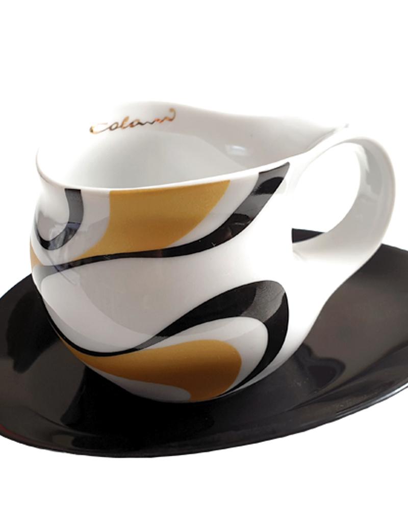 Colani Porzellanserie Colani Espressotasse groß I Set I gold-schwarz I Wave