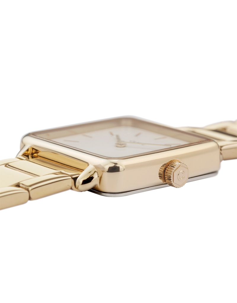 Cluse Cluse Uhr La Tétragone Three Link I gold-weiß I rechteckig